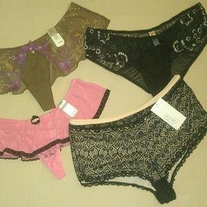 Bundle of 4 NWT Ladies Underwear Thong Boyshort L